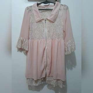korean pink lace blouse