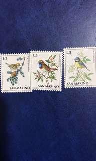 1972聖馬利諾 郵票 鳥