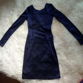 H&M DRESS ORIGINAL HM BLUE BIRU