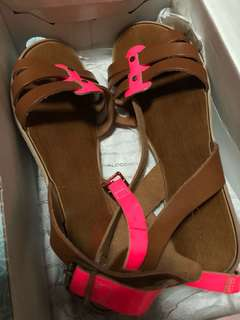 Aldo brown and neon pink sandals