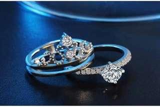 Crown Ring Diamond Wedding Crytal