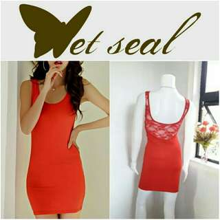 -Yunik- Authentic Wet Seal Bodycon Dress In Lovely Red
