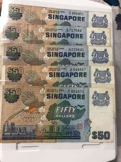 Singapore Old Bird Series 50 Dollar Notes