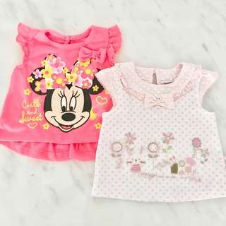 Preloved baby girl tops (0 to 6 months)