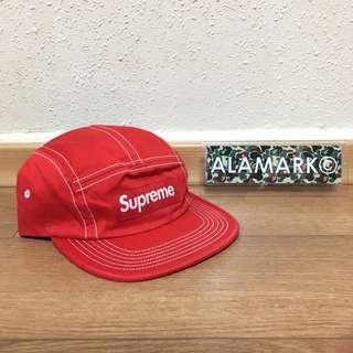 Supreme Red Contrast Stitch Camp Cap