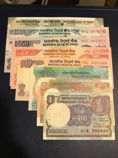 India banknote set - 8 UNC Notes