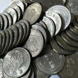 Sg old 50¢ coins 300pc x 0.65¢