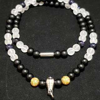 Handmade Crystal Necklace for Amulets (Frosted Quartz and Black Onxy)