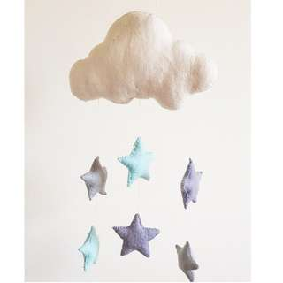 Handmade Felt Cloud with Stars Nursery Mobile/ Nursery Decor
