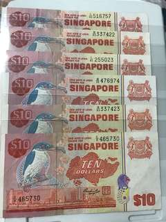 Singapore Old Bird Series 10 Dollar Notes