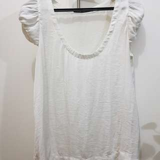 Zara Basic White Top with Accent Sleeves