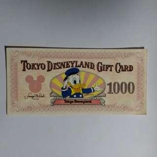 "First issue of ""Tokyo Disneyland 東京迪士尼 gift card 1000 yen"""
