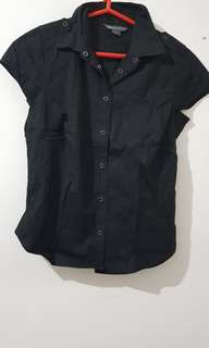 Armani Exchange short sleeved button up blouse