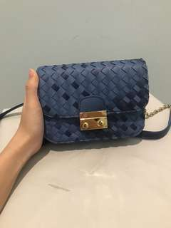 Small bag leather blue