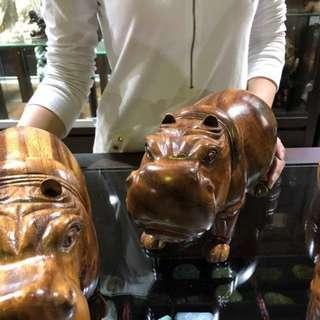 嚴選高檔雙色柚木 柚木河馬 精緻可愛 雕刻栩栩如生 天然紋路