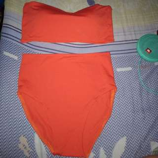 Orange Highwaist bandeau highcut swimwear bikini
