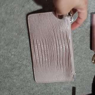 Nude leather medium wallet