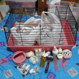 Gp cage with food , bedding and grooming n bathing foam