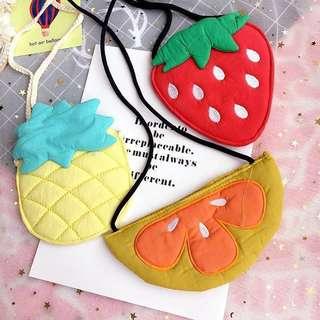 Korea Handmade Fabric Sling Bag (Pineapple, strawberry or Orange)
