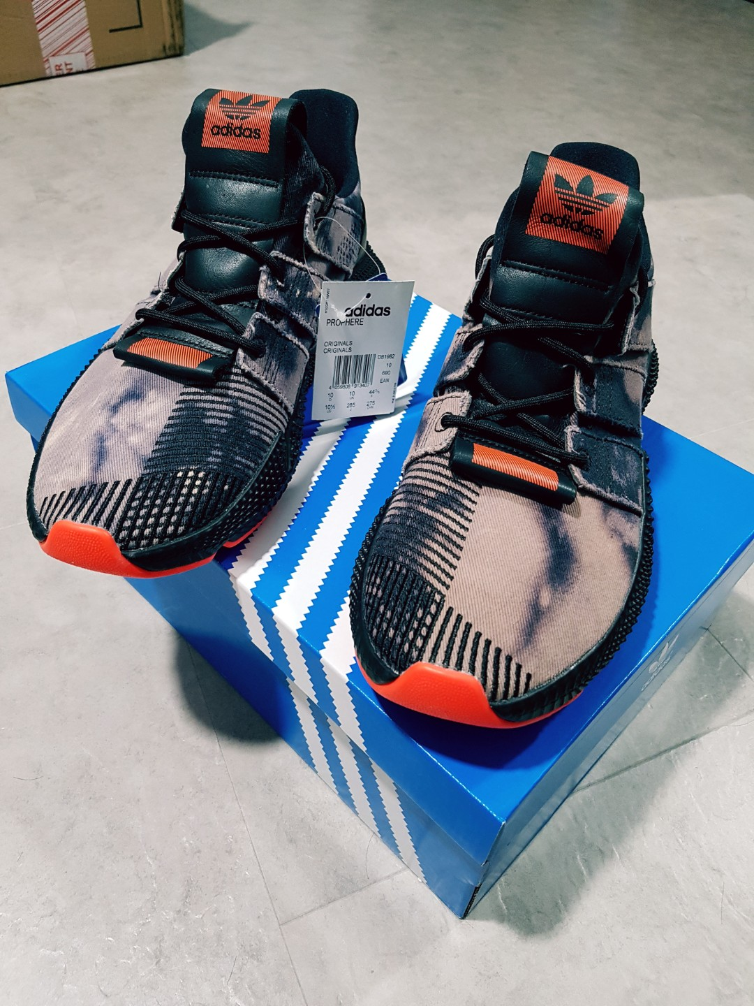 74e1b9014d22 Adidas Prophere Rogue   Black Solar Red   Distressed   Bleached ...