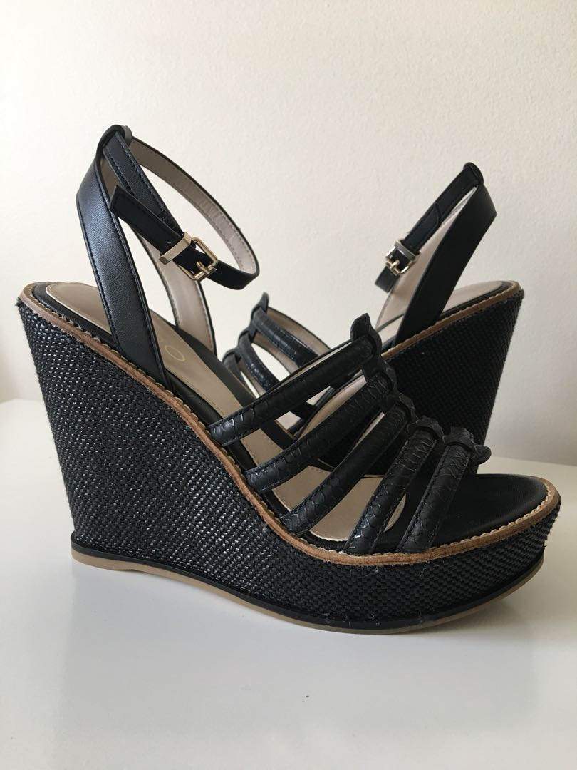 ALDO Black Strappy Wedges