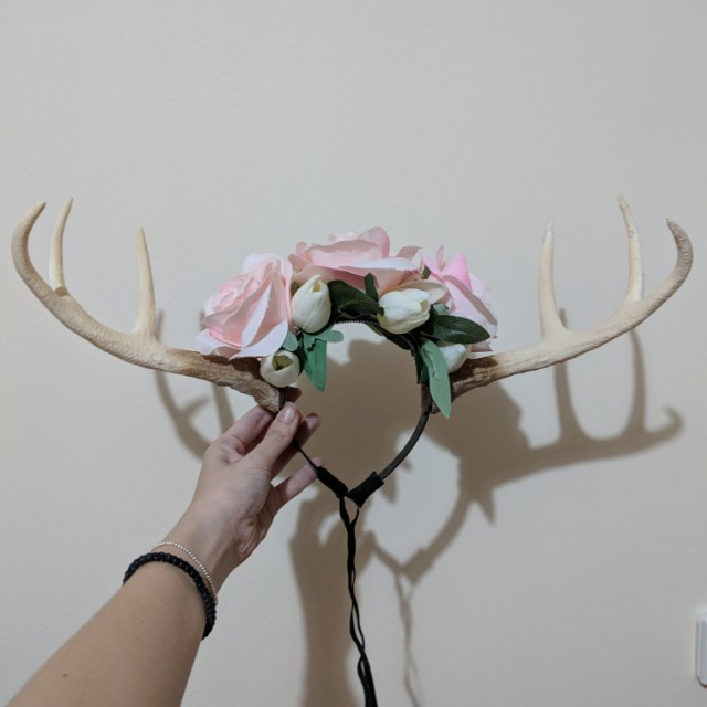 Antler headress flower headband (handmade)