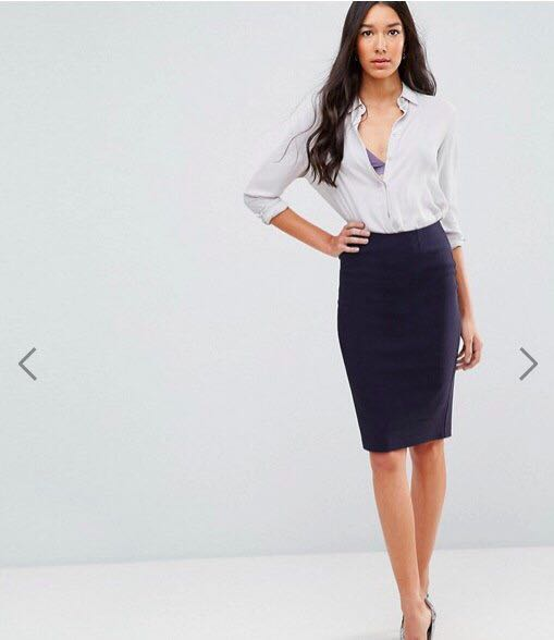 fef55bb60f ASOS High waisted pencil skirt (navy blue), Women's Fashion, Clothes ...