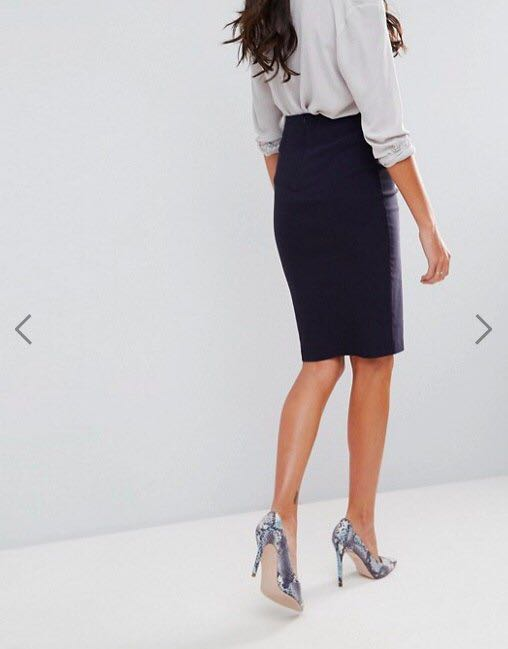 2d5e46b9be ASOS High waisted pencil skirt (navy blue), Women's Fashion, Clothes,  Dresses & Skirts on Carousell