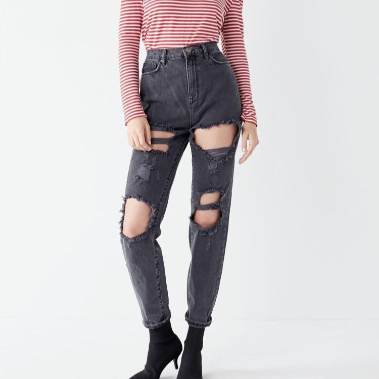 BDG High waist black ripped mom jeans (bnwt)
