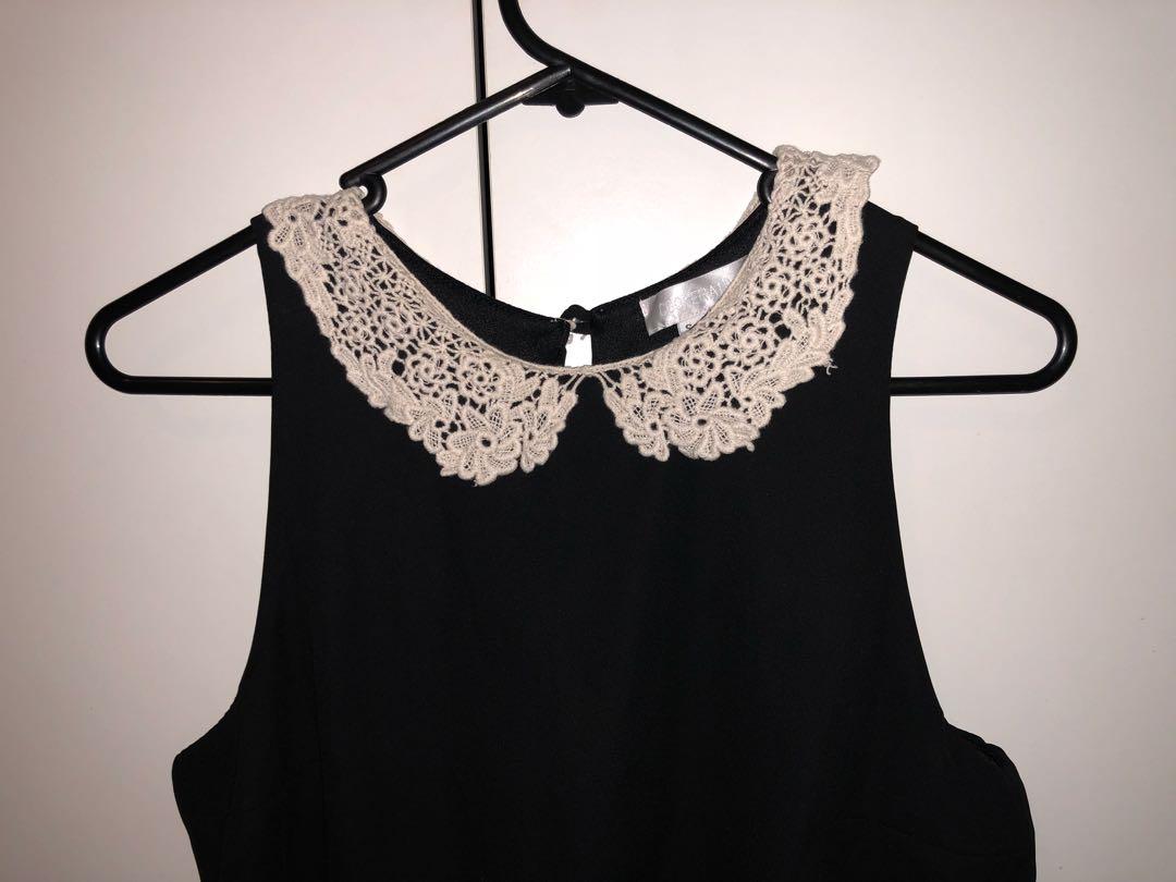 Black playsuit lace collar