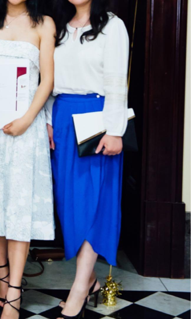 Blue navy midi skirt