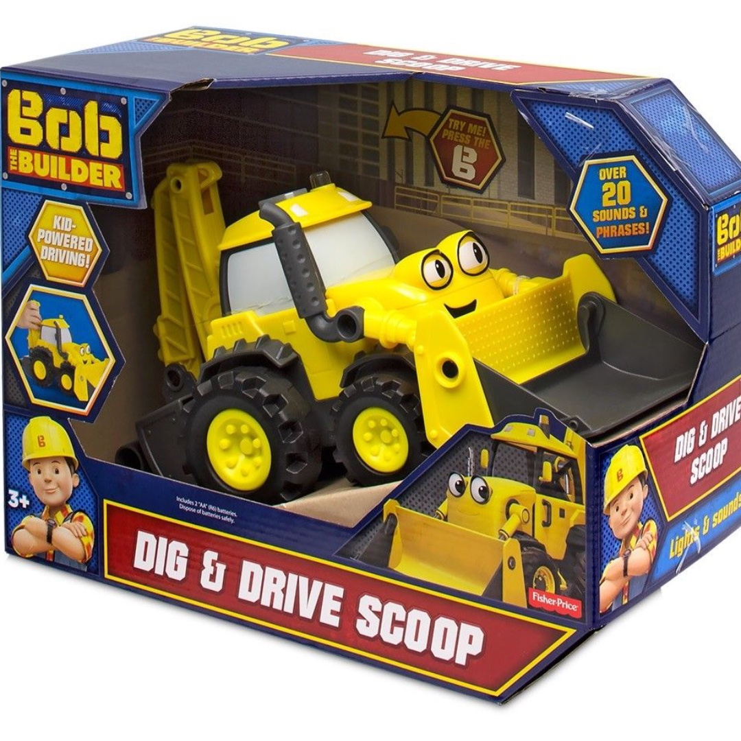 Brand New Bob The Builder Dig and Drive Scoop Light & Sound Toy Truck Vehicle
