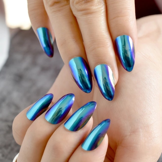 Chameleon Blue Short Fake Nails Falt Stiletto False Metal Mirror ...