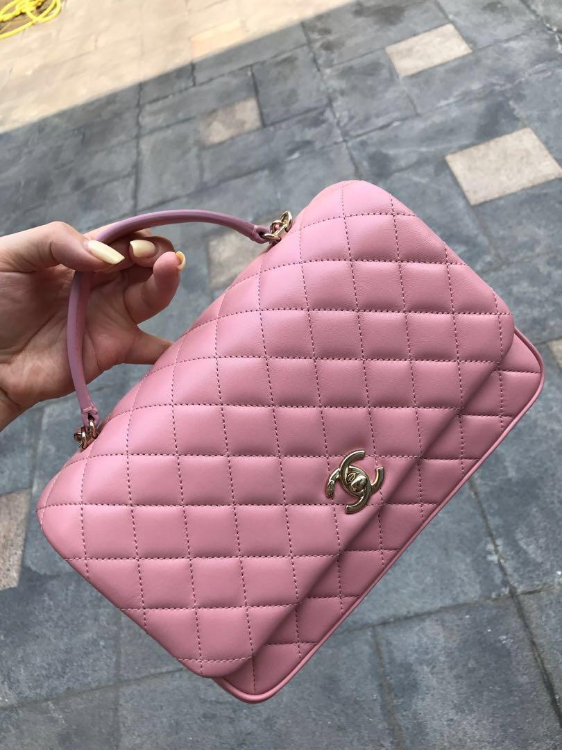 全新剛購自意大利!Chanel 靚粉紅色好用三層三用側背手挽斜背全皮袋 LV Prada  Loewe celine