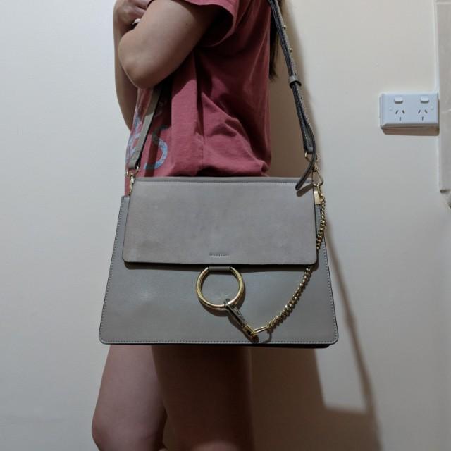 Chloe faye inspired leather bag in motly grey
