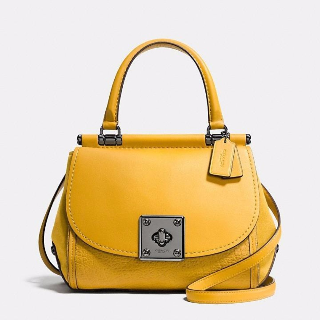 Authentic Coach DRIFTER TOP HANDLE SATCHEL IN MIXED LEATHER - YELLOW ... f563a96cbf938