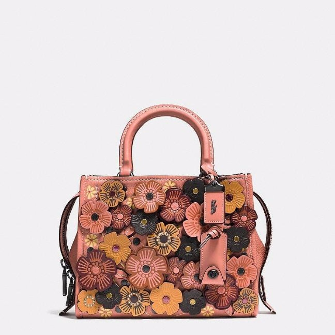 ... usa authentic coach multicolor rogue in pebble leather with tea rose  pink black copper melon womens 2fbd261d4396c