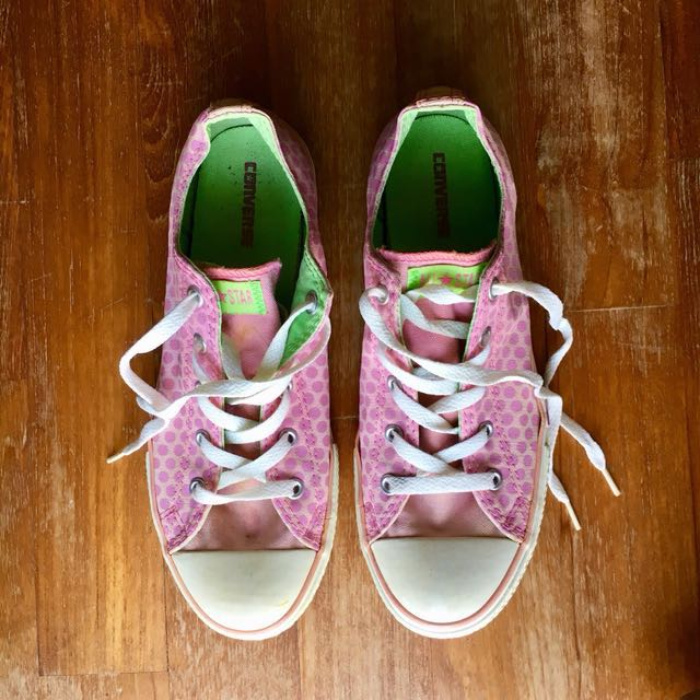 6feba58ab45b0d Converse All Star pink polka dot trainers with flower on sole ...