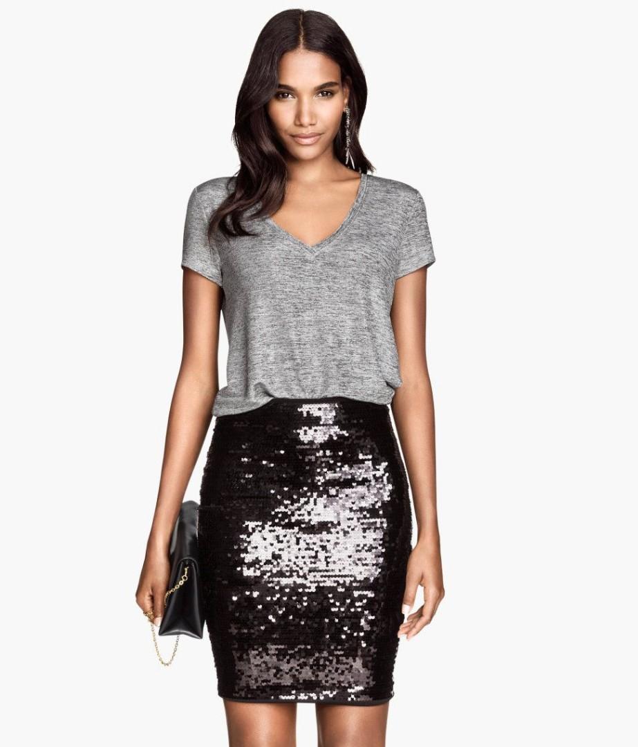 H&M   Sequin Pencil Skirt