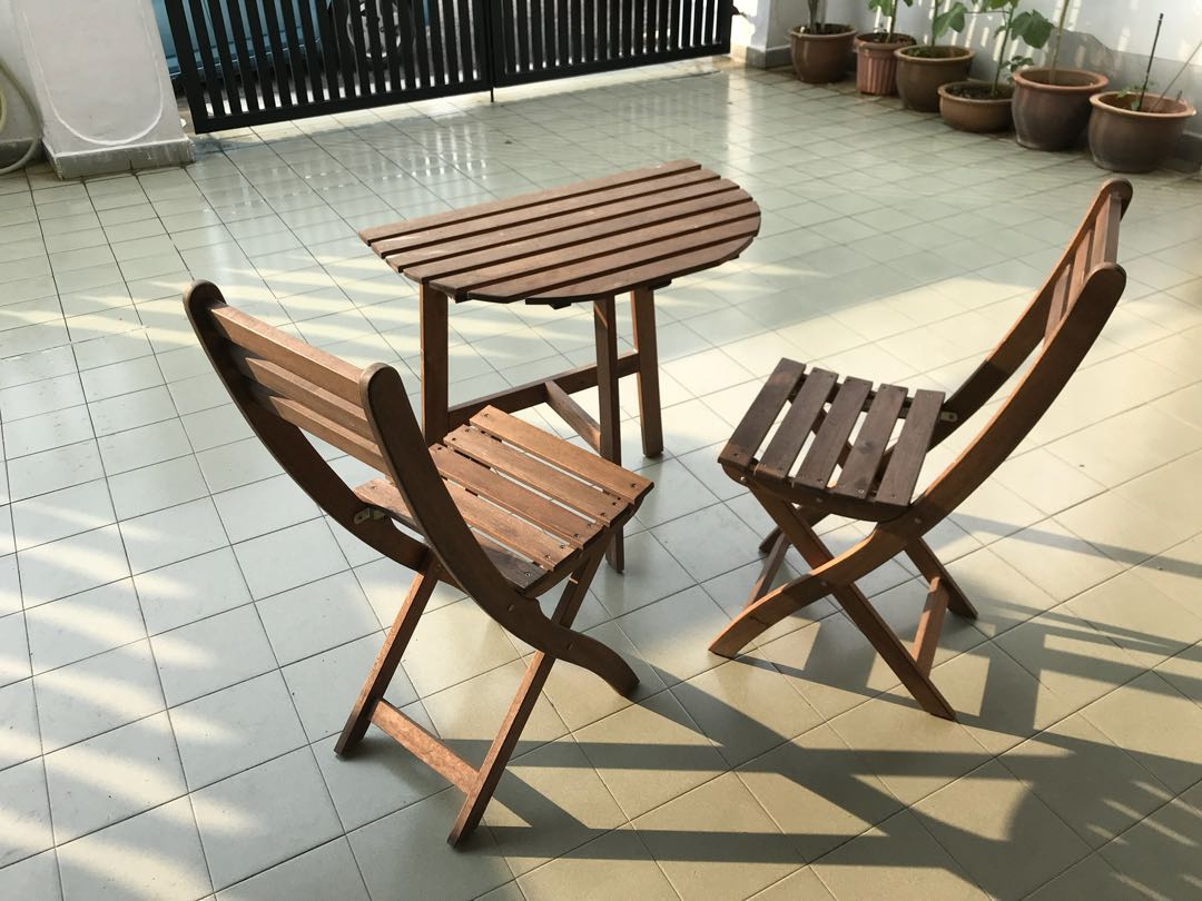 Ikea askholmen  Ikea Askholmen outdoor table & 2 Chairs, Home & Furniture, Furniture ...