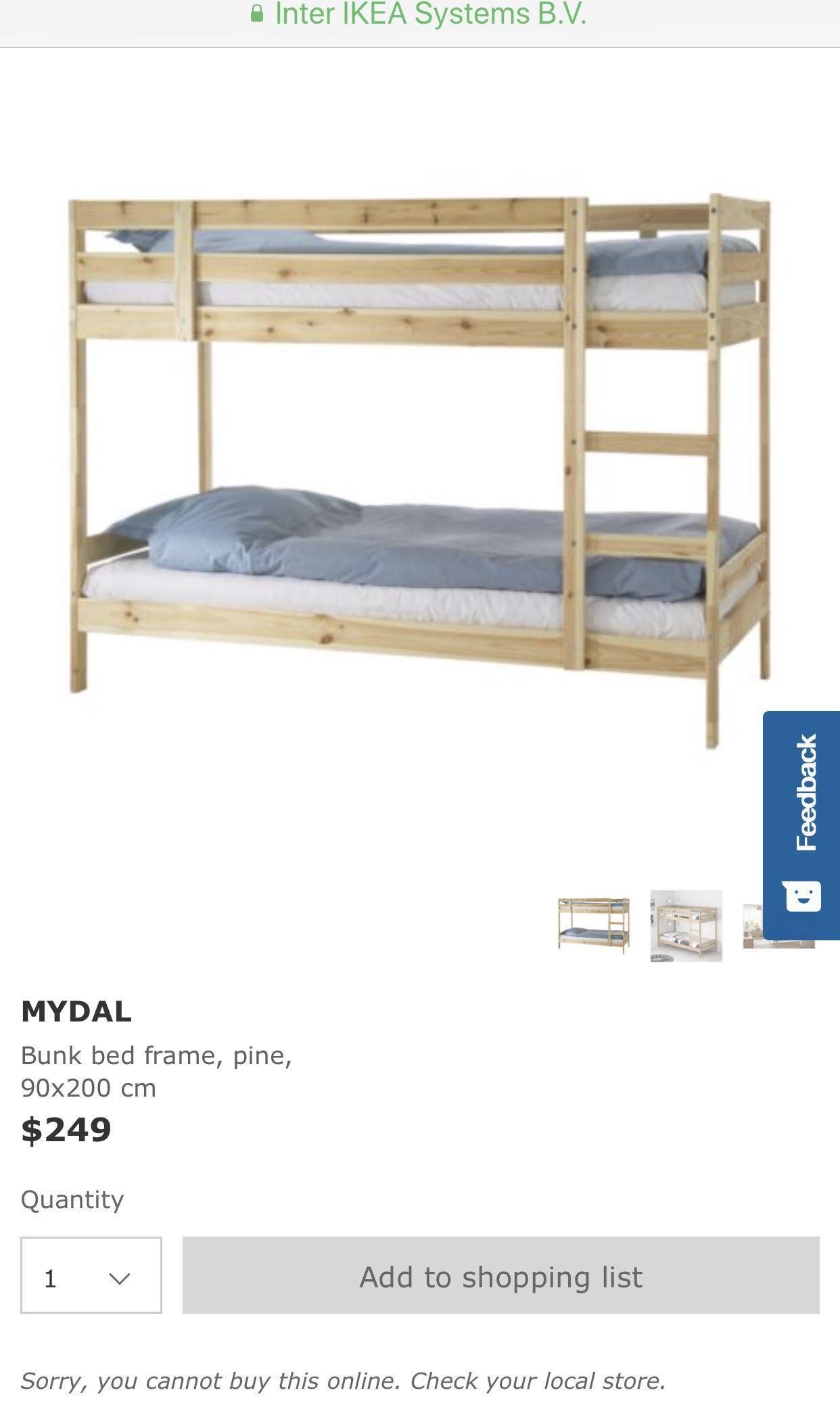 Ikea Mydal Single Size Bunk Bed With 2 Mattresses Delivery