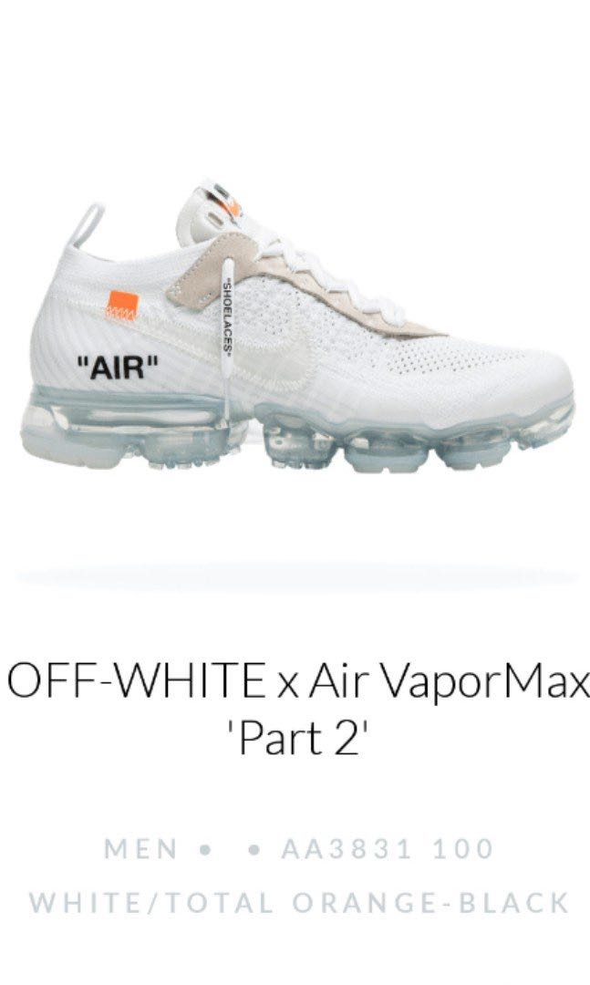 d531724a03 《ALL SIZES INSTOCK》OFF-WHITE x Nike Air Vapormax PART 2, Men's Fashion,  Footwear on Carousell