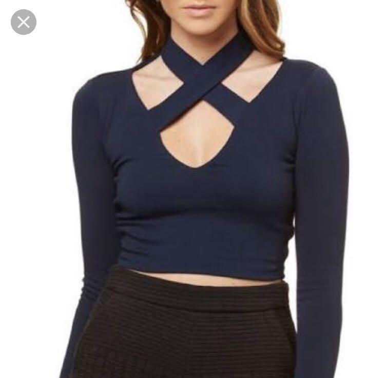 Kookai criss cross choker top