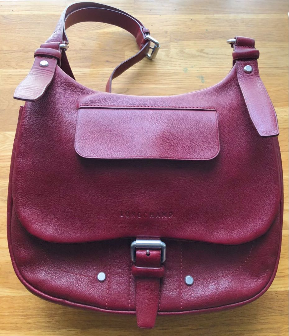 d0b2c868655 Longchamp Balzane leather saddle bag in limited edition bordeaux red ...
