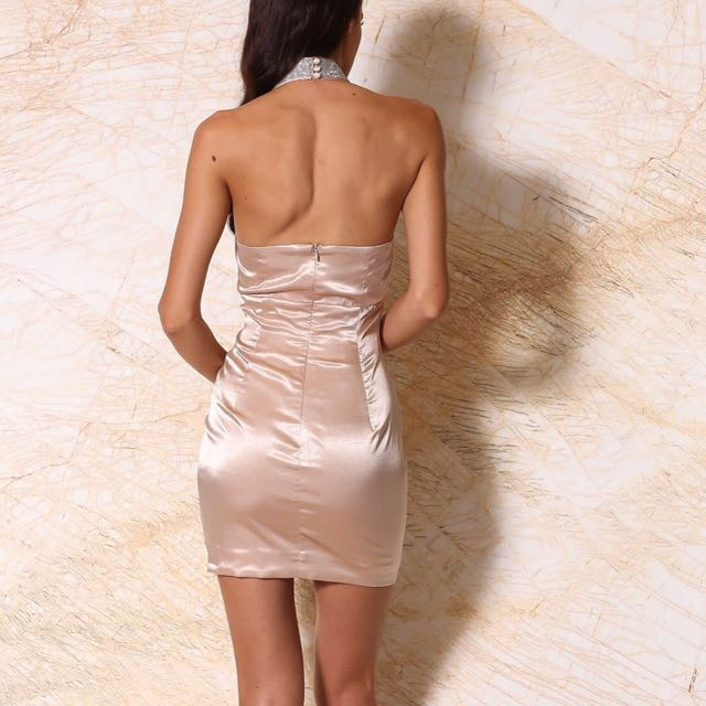 MESHKI calista satin diamante halter mini dress - blush