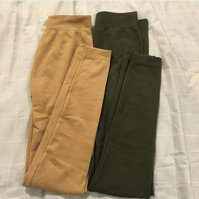 Nude & military green tights