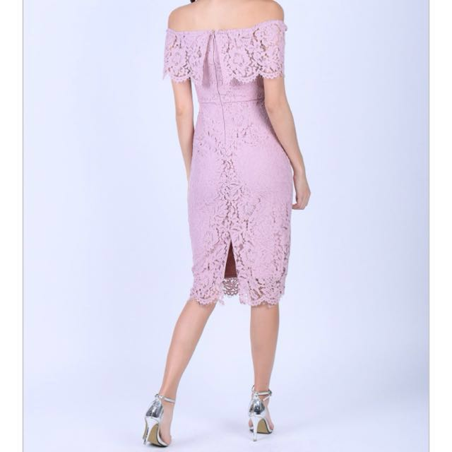 Off Shoulder Lace Dress - Dusty Pink 136ae9c6f