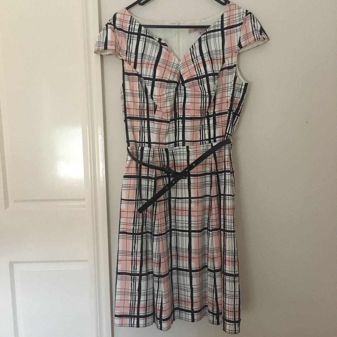 Pink checkered midi dress