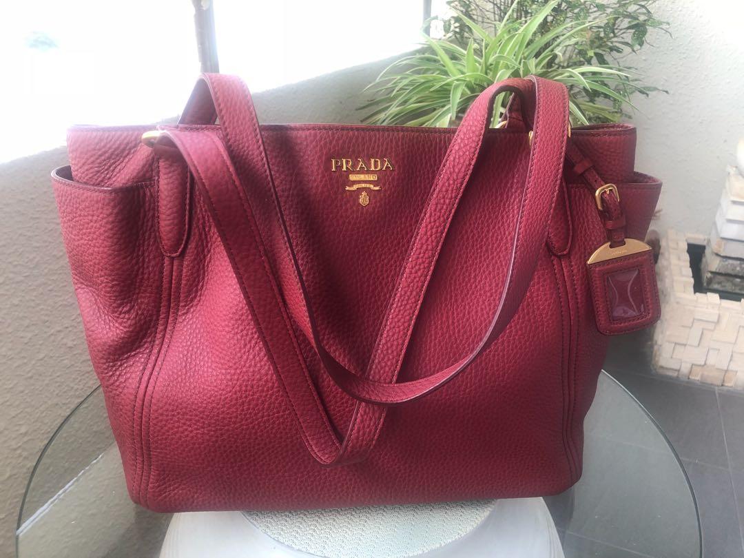 ede1ec45aa Prada BR4970 Vitello Daino Leather Double-Pocket Tote Bag in Rubino ...