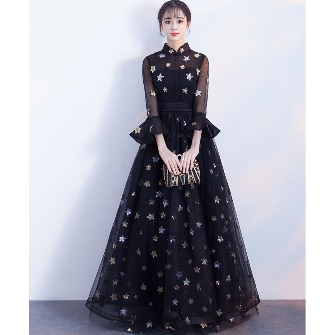1cc5bebf pre order black star glitter long sleeve Muslimah wedding dress gown ...